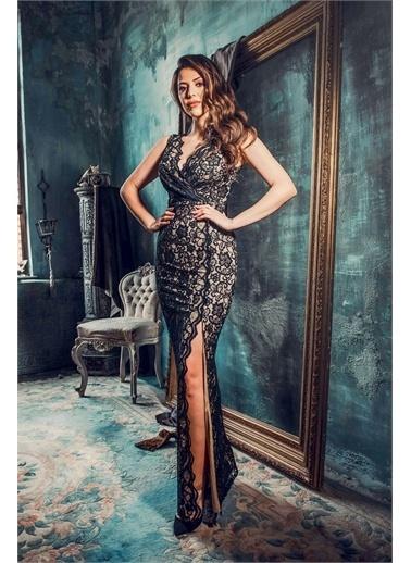 Carmen Carmen Siyah Dantel Anvelop Uzun Abiye Elbise Siyah